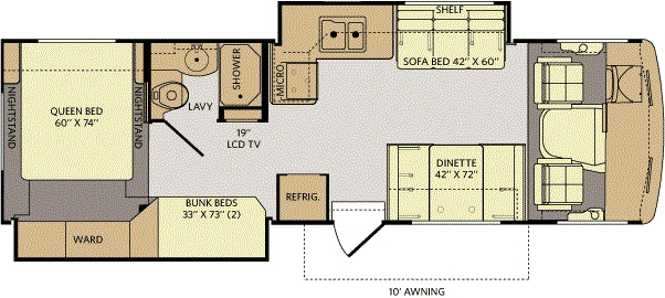 Floor Plan - 31' Storm Class A Bunkhouse Double Slide